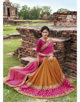 Casual Wear Pink & Orange Crepe Silk  Saree  - 21549