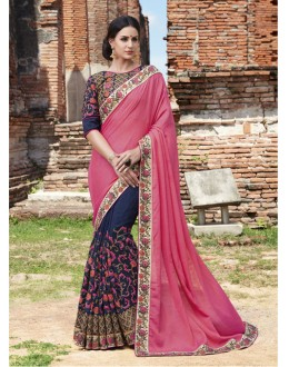 Ethnic Wear Pink & Dark Blue Chiffon Saree  - 21550