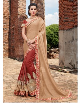 Ethnic Wear Cream & Red Chiffon Net Saree  - 21554