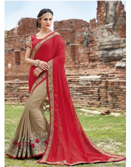 Traditional Wear Red & beige Crepe Chiffon Saree  - 21556