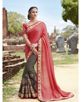 Traditional Wear Peach & Brown Crepe Silk Saree  - 21560