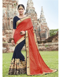 Wedding Wear Orange & Dark Blue Crepe Chiffon Saree  - 21561