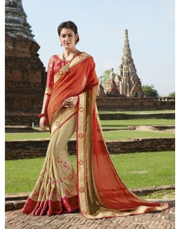 Festival Wear Orange & Cream Chiffon Saree  - 21563