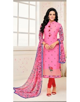 Traditional Wear Pink Poly Silk Salwar Suit - 21648