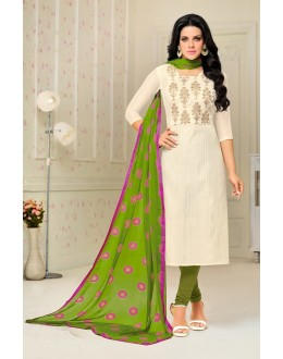 Ethnic Wear White Chanderi Salwar Suit - 21649