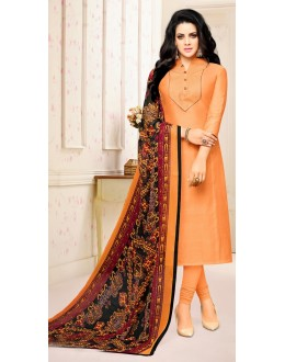 Casual Wear Peach Poly Silk Salwar Suit - 21660