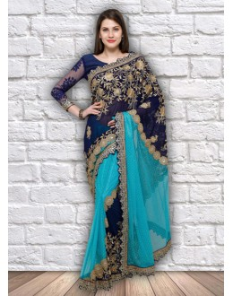 Festival Wear Blue Lycra & Georgette Saree  - 21795
