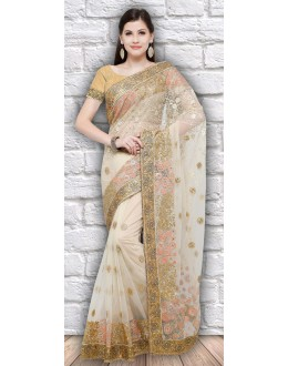 Traditional Wear Chiku Colour Net Saree  - 21796