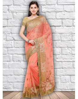 Weedding Wear Peach Colour Net Saree  - 21798
