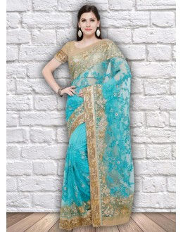 Festival Wear Firoji Colour Net Saree  - 21801