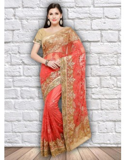 Party Wear Gajari Colour Net Saree  - 21802