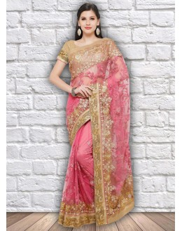 Wedding Wear Pink Colour Net Saree  - 21803