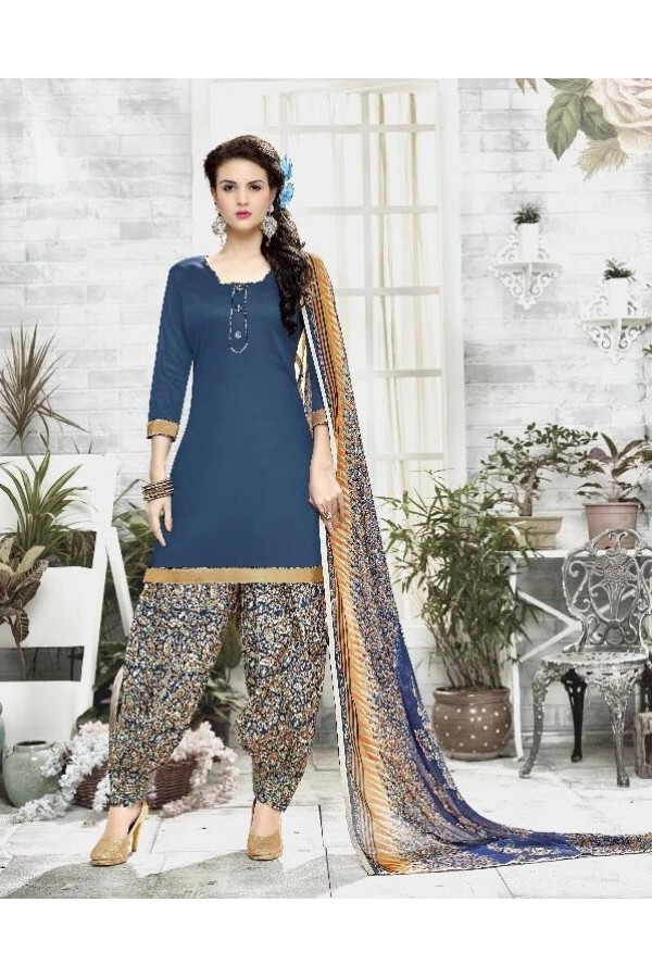 Party Wear Navy Blue Cotton Satin Salwar Suit - 21829
