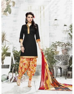 Casual Wear Black Cotton Satin Salwar Suit - 21831