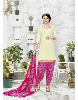 Festival Wear Off White Cotton Satin Salwar Suit - 21833