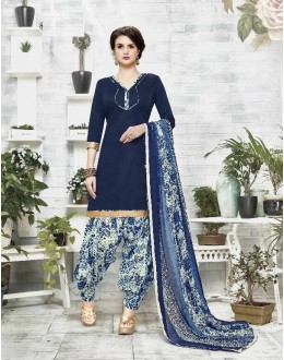 Party Wear Navy Blue Cotton Satin Salwar Suit - 21834