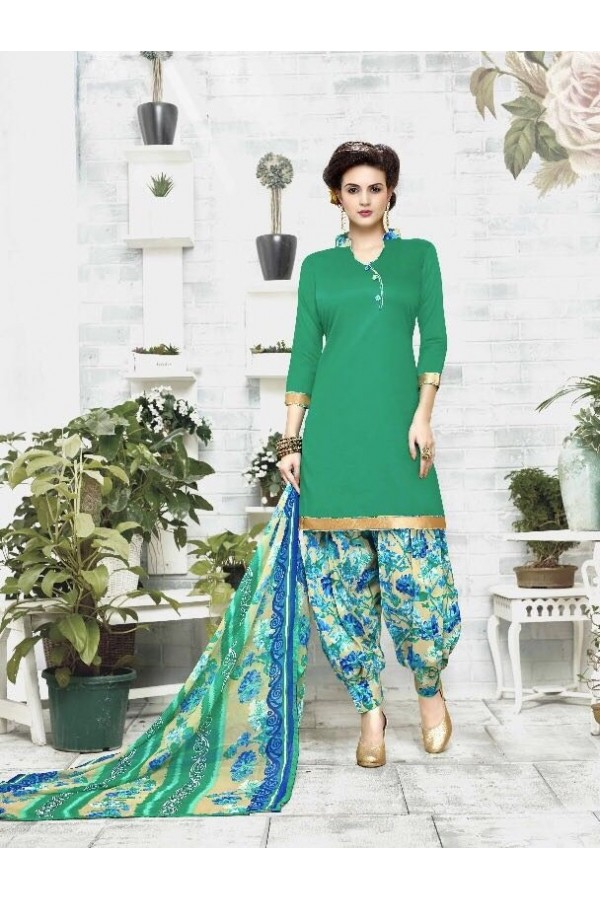 Traditional Wear Green Cotton Satin Salwar Suit - 21836