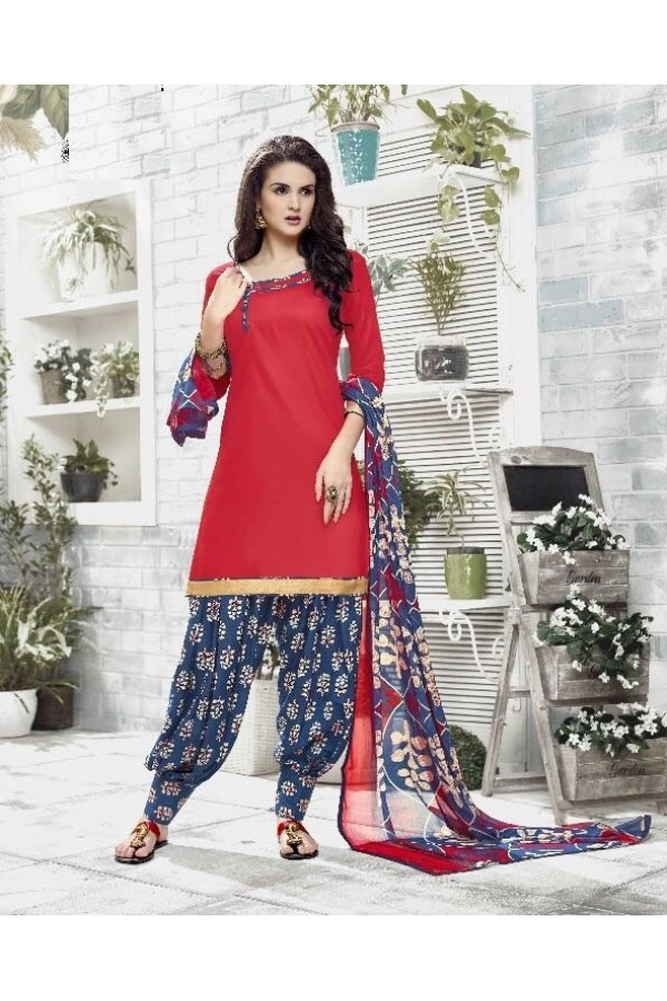 Party Wear Red Cotton Satin Salwar Suit - 21837