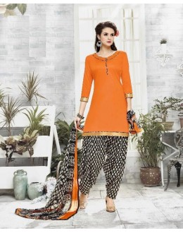 Casual Wear Orange Cotton Satin Salwar Suit - 21839