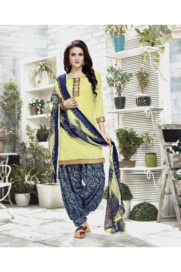 Festival Wear Yellow Cotton Satin Salwar Suit - 21840