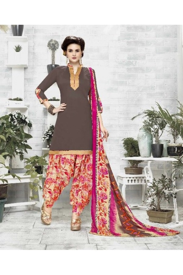 Traditional Wear Brown Cotton Satin Salwar Suit - 21841