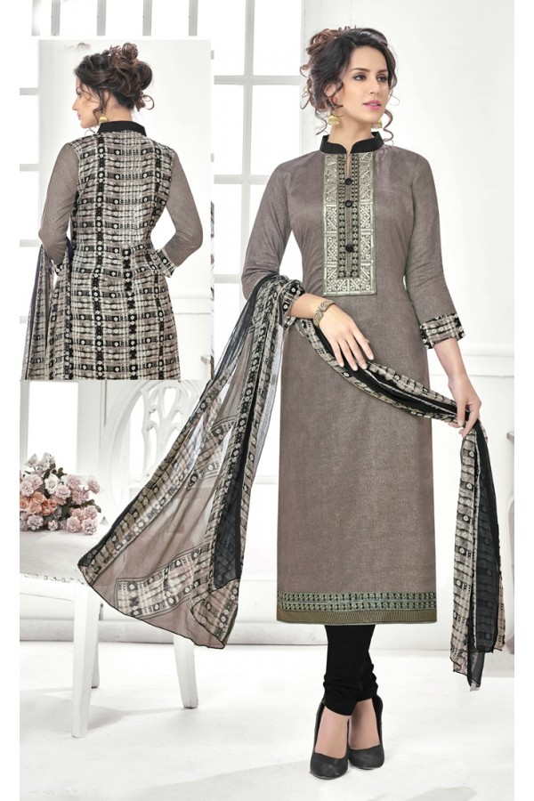 Festival Wear Grey Cotton Satin Salwar Suit - 21846