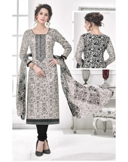 Casual Wear Grey Cotton Satin Salwar Suit - 21849
