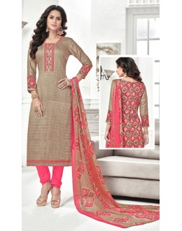 Traditional Wear Beige Cotton Satin Salwar Suit - 21851