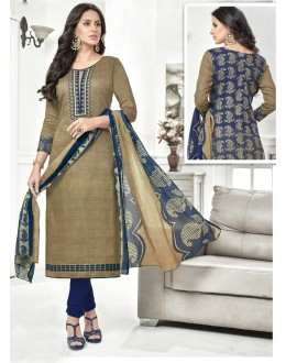 Wedding Wear Green Cotton Satin Salwar Suit - 21854