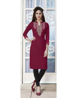 Wedding Wear Readymade Deep Maroon Rayon Kurti  - 21870