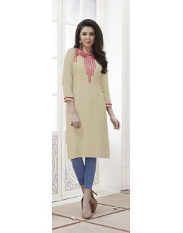 Party Wear Readymade Cream Rayon Kurti  - 21871