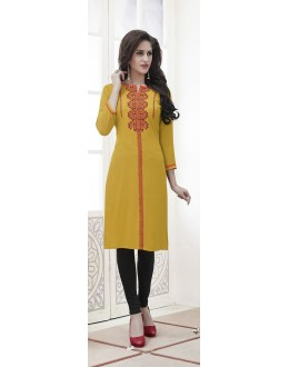 Casual Wear Readymade Deep Yellow Rayon Kurti  - 21874