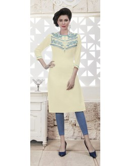 Wedding Wear Readymade Off White Rayon Kurti  - 21875