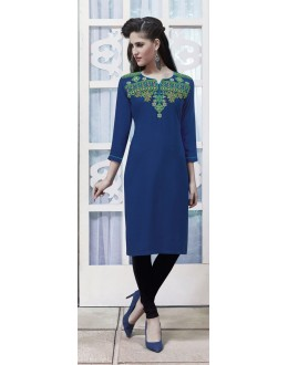 Party Wear Readymade Deep Blue Rayon Kurti  - 21876