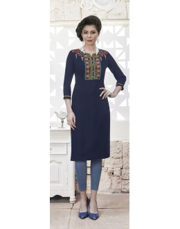 Casual Wear Readymade Deep Blue Rayon Kurti  - 21879