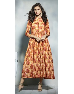Party Wear Readymade Yellow Cotton Kurti  - 21911