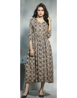 Wedding Wear Readymade Beige & Brown Cotton Kurti  - 21912
