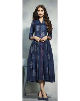 Ethnic Wear Readymade Navy Blue Cotton Kurti  - 21913