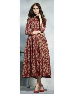 Ethnic Wear Readymade Multicolour Cotton Kurti  - 21915