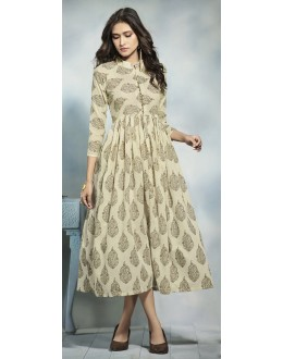 Casual Wear Readymade Beige Cotton Kurti  - 21916