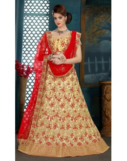 Traditional Wear Cream Net Lehenga Choli - 21929