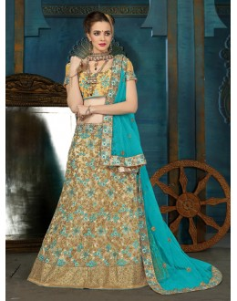Party Wear Beige Net Lehenga Choli - 21930