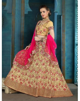 Traditional Wear Cream Net Lehenga Choli - 21931
