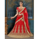 Festival Wear Red Net Lehenga Choli - 21933