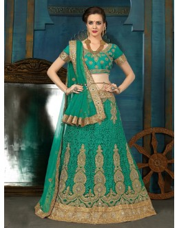 Party Wear Green Net Lehenga Choli - 21934