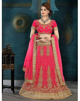 Traditional Wear Pink Net Lehenga Choli - 21935