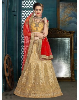 Ethnic Wear Cream Net Lehenga Choli - 21936