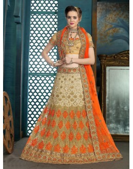 Wedding Wear Cream Net Lehenga Choli - 21940