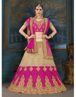 Ethnic Wear Pink Net Lehenga Choli - 21941