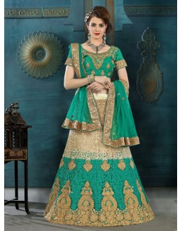 Party Wear Green Net Lehenga Choli - 21942